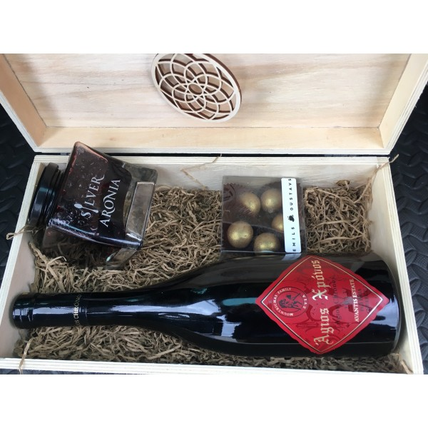 Festive Collection - Gift box with wine, superfoods jam and truffles